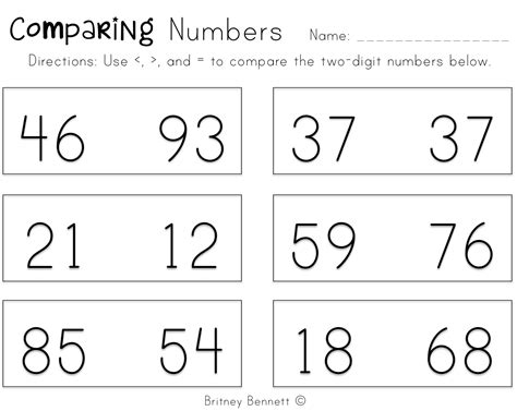 1st grade comparing numbers worksheets worksheets for all