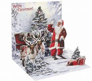 Pop Up Karte Weihnachten : pop up 3d weihnachten karte popshot santa claus mit 2 rentieren 13x13 cm 508546 ~ Buech-reservation.com Haus und Dekorationen