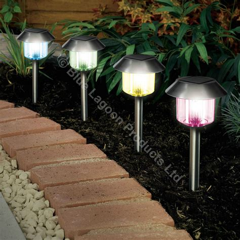 4 x colour changing solar power light led post outdoor