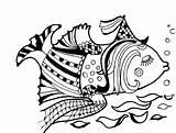 Columbine Coloring Fish Cartoon Funny Animals Akelei Boek Libro Colorare Divertente Fumetto Grappig Drawn Animali Beeldverhaal Het Kleurend Vissen Degli sketch template