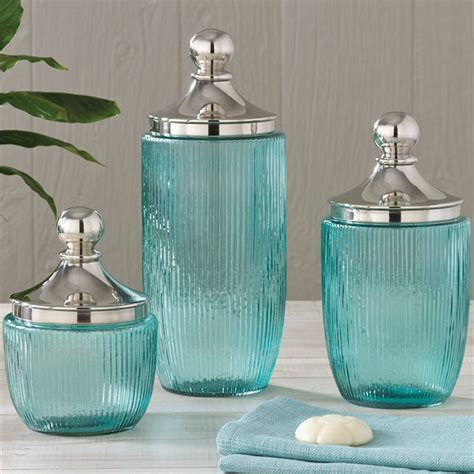 decorative kitchen canisters sets coastal aqua ribbed glass jar set