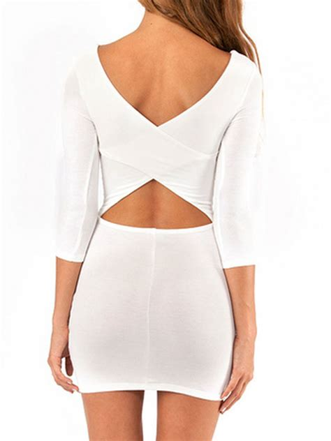 Graceful In Stock Latest White Long Sleeve Backless