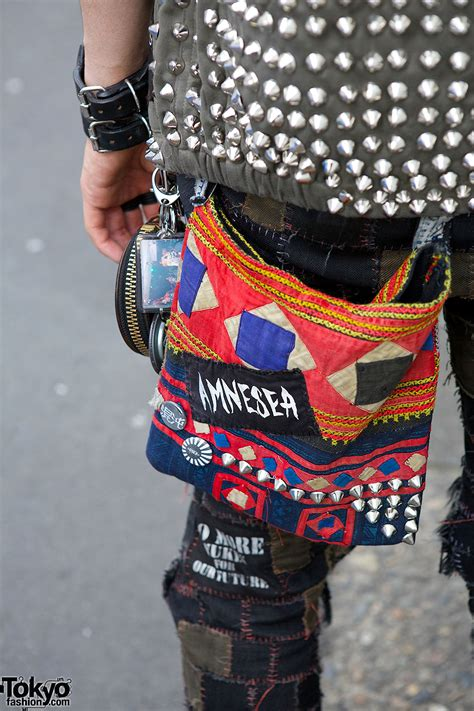 crust punk patch pants disk union bag studded vest