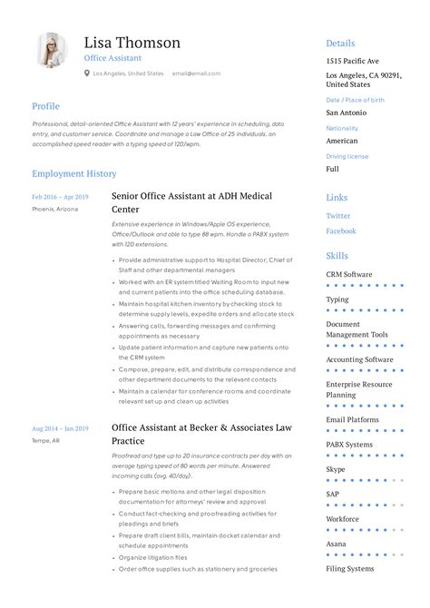 Oversaw students during lunch and recess periods. Office Assistant Resume + Writing Guide | 12 Resume TEMPLATES | 2019
