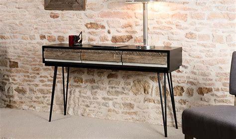 mobilier bureau discount console vintage en bois massif et mtal
