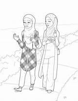 Coloring Muslim Pages Hijabi Ice Shiachat Islamic Islam Digital sketch template