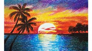Landscape drawing for beginners with oil pastels - Scenery ...