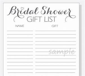Wedding shower gift list template for Wedding shower gift list template