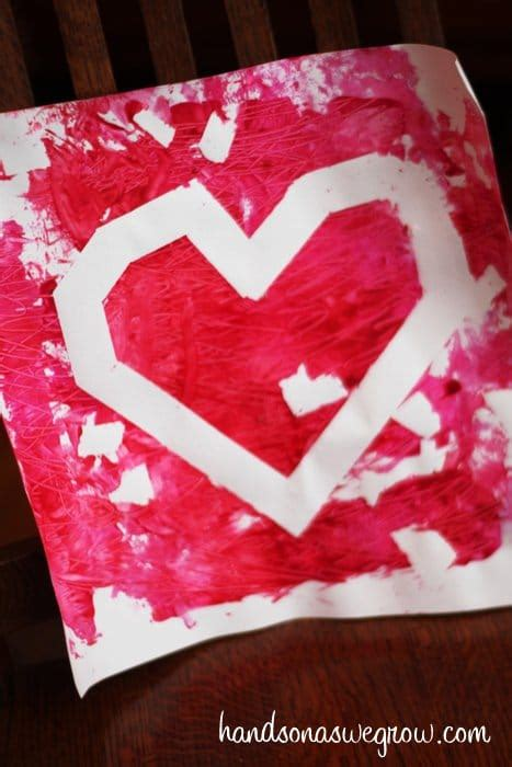 valentine art  toddlers scratch roll  resist