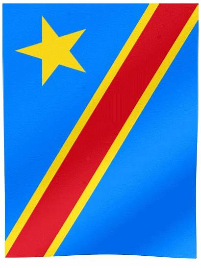 Flag Congo Republic Democratic Vertical Waving Flags