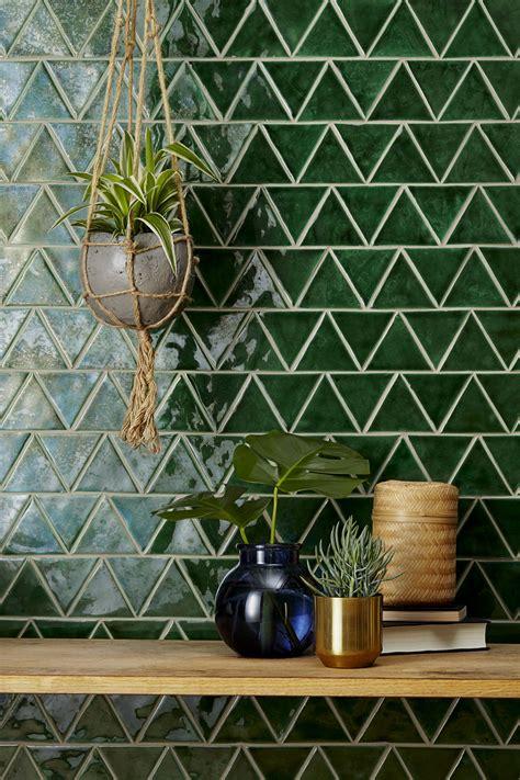 handmade  terracotta tiles glazed green triangle
