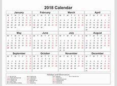 Printable calendar 2018 with holidays Download Free