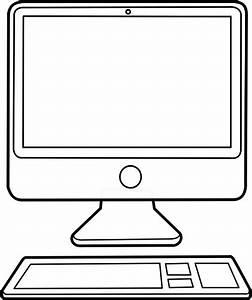 Outline desktop computer configuration vector image ...
