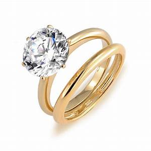 solitaire round 35ct cz 18k gold plated vermeil With gold cz wedding ring sets