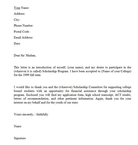 scholarship application letter exles scholarship
