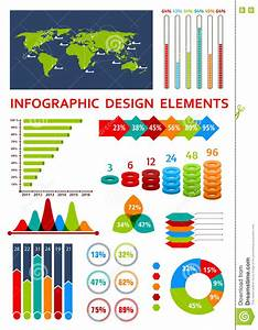 Graphs And Charts With Map For Infographics Design Stock Vector