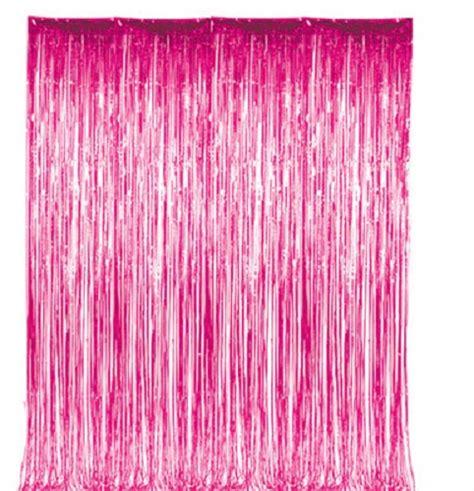 Pink Foil Fringe Curtain by Pink Metallic Fringe Curtain Room Decor 3 X 8 Ebay