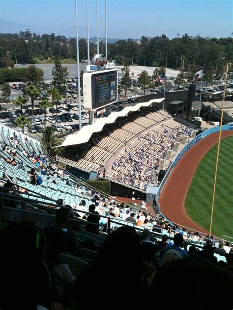 dodger stadium outfield bleacher seating section   warm