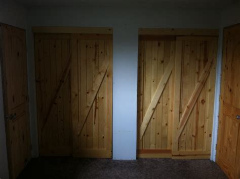 all pine construction rustic slider closet doors by
