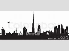 Dubai UAE skyline Detailed vector silhouette Stock
