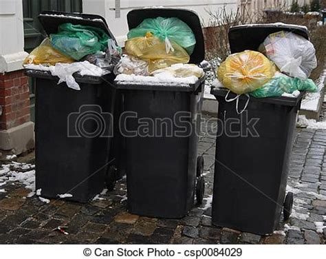 stock photographs  full trash cans  black garbage