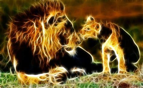 Fractal Animal Wallpaper - animals fractals cubs lions 1664x1030 wallpaper high