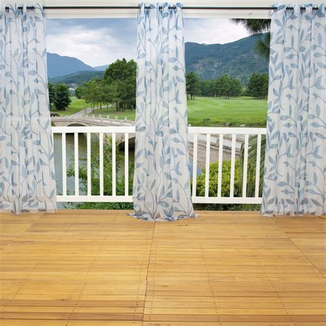 Sheer Patio Curtains Outdoor by Shop Sheer Blue Leaf Outdoor Curtains With Grommets 54 X