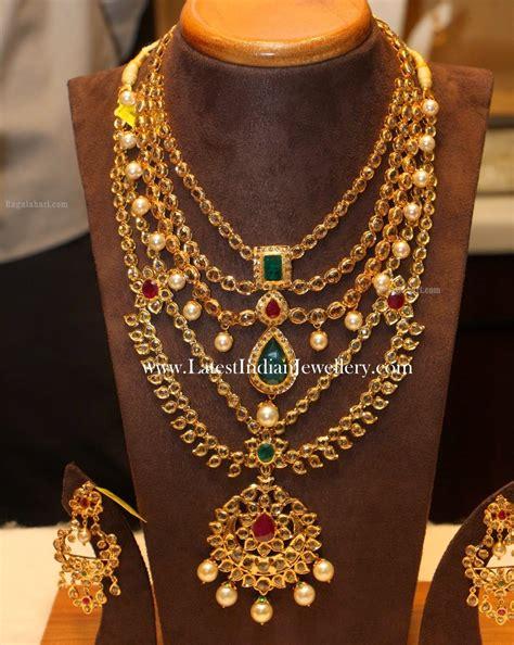 latest gold bridal jewellery sets  uncut diamonds