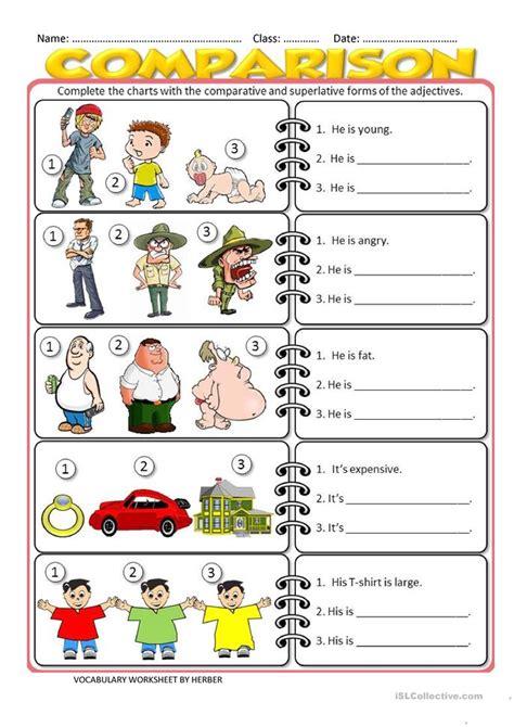 comparison worksheet  esl printable worksheets