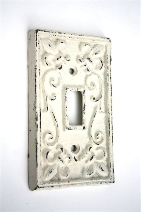shabby chic switch plate shabby cottage chic cast iron switch plate cover by secondhandnews