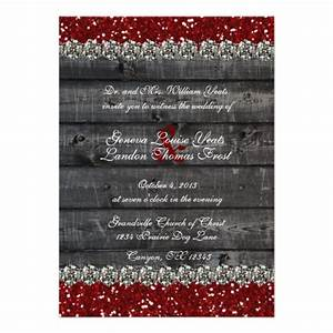 rustic gray wood red glitter rhinestone wedding 5x7 paper With red rhinestone wedding invitations