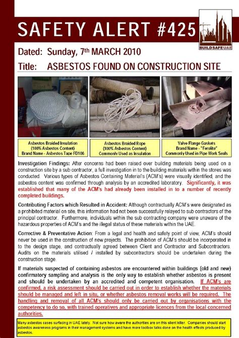 safety alert asbestos   construction site