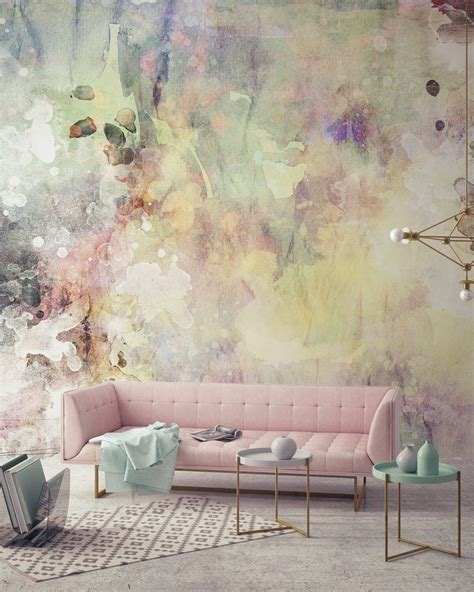 Lovely Pastel Wall Mural Design Ideas by Eye Catching Watercolor Walldecor Idea Wallpaper