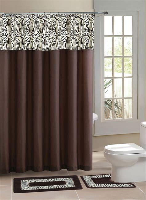 brown zebra stripe shower curtain  pcs bath rug mat