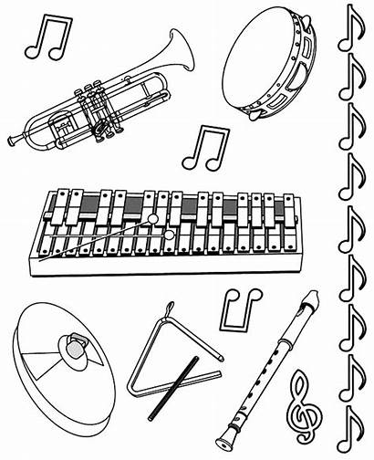 Coloring Instruments Musical Drawings Instrument Pages Sheet