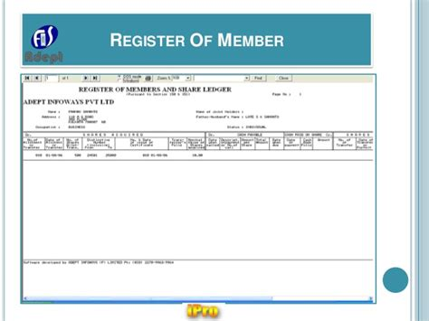 ipro software  company statutory  forms registers