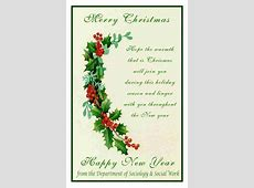 BEST WISHES FROM THE DEPARTMENT OF SOCIOLOGY & SOCIAL WORK