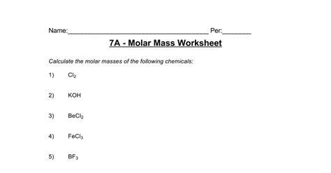 Molar Mass Worksheet Answers Homeschooldressagecom