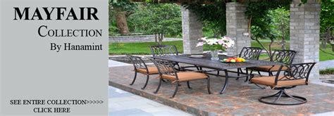 view all hanamint mayfair cast aluminum patio furniture sets