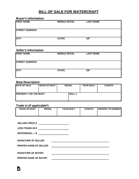 Jet Boats For Sale In Tennessee by Free Tennessee Watercraft Bill Of Sale Form Pdf Eforms
