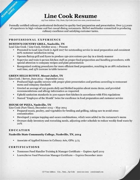 Cook Resume Skills by Line Cook Resume Sle Writing Tips Resume Companion