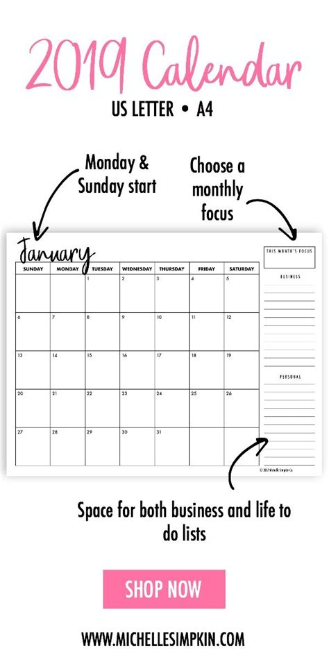 printable monthly calendars landscape letter instant