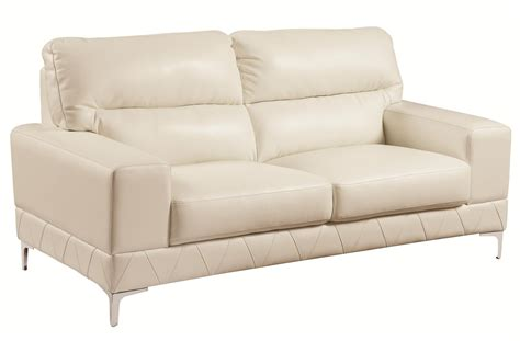 White Leather Loveseat by Coaster Benjamin 503818 White Leather Loveseat A