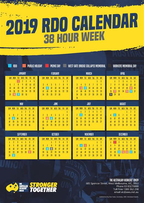 hour week rdo calendars awu victoria