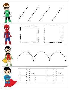 superheroes worksheets  kids preschool  homeschool