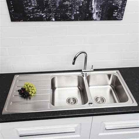 double sink  drainer stainless steel plumbworld