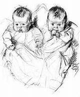 Baby Twin Babies Sketch Victorian Twins Drawing Coloring Drawings Pencil Clipart Cute Children Pages Draw Angel Sketches Angels Printable Domain sketch template