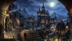 Wallpaper, Fantasy, Art, Cityscape, Night, Fantasy, City, Cathedral, Metropolis, Gothic
