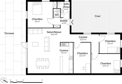 plan de maison 3 chambres plain pied plan maison en l de plain pied avec 3 chambres ooreka