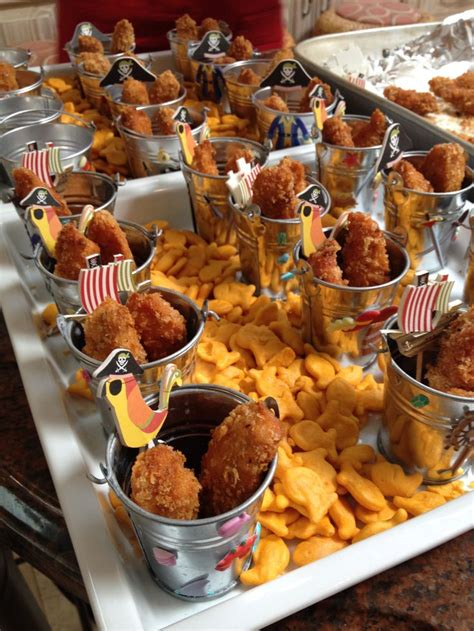 cuisine pirate pirate food chicken nuggets in pails on a